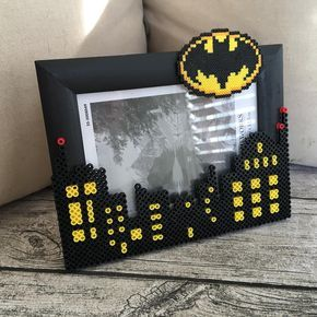 Batman photo frame perler mini beads by hollohandcrafted