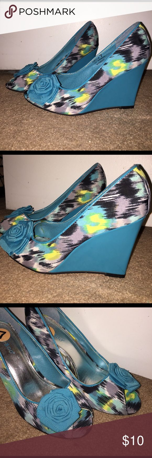 """Turquoise Wedges Turquoise wedge heels. """"Nawty-68"""" New never worn Bamboo Shoes Wedges"""