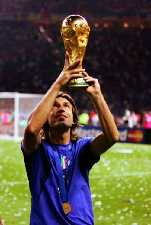 Andrea Pirlo lifting the 2006 FIFA world cup in Germany he won with Italy in the final against France