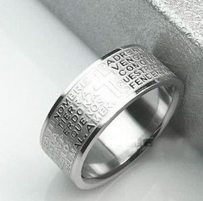 Мужское кольцо из нержавеющей стали и надписью из отче наш