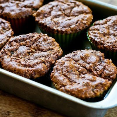 Recipe for Low-Sugar and Flourless Zucchini Muffins with Pecans (Gluten-Free)   * I replaced the sugar with honey and agave