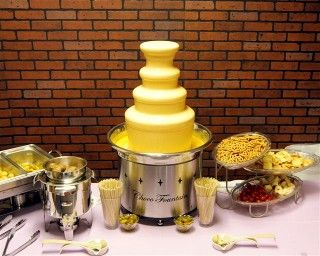 Nacho Cheese Fountain: Things to dip: Cocktail Wieners,Tortilla Chips, Corn Chips, Meatballs, Chicken Wings, Chicken Tenders, Taquitos, Mini Corndogs, Cubed Smoked Ham,  Sliced Sausage, Steak Cubes, Potato Wedges, Potato Skins, Potato Chips, Bread Sticks, Asst. Veggies, etc.