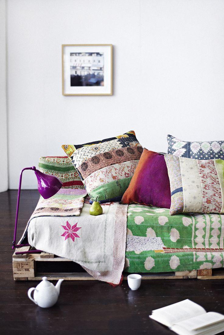 Palette sofa with kanthas Similar kantha bedspreads from Decorators