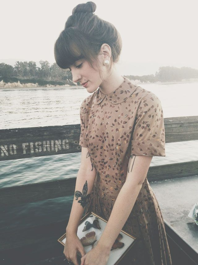 Finch & Fawn, blogger, fashion, style, bun, hairstyle, fringe, dress, tattoo, photography, vintage inspired
