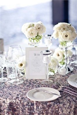 Pink glitter table cloth with white wedding decor