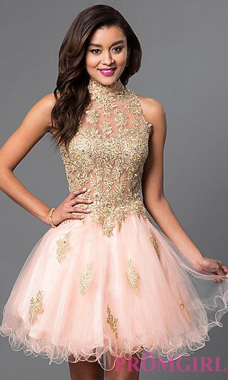Short Tulle and Lace Applique Dress at PromGirl.com