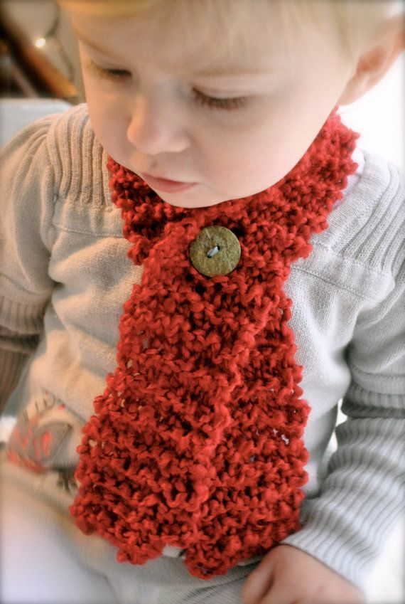 Toddler Baby Scarf With Button Cozy Crimson Red By