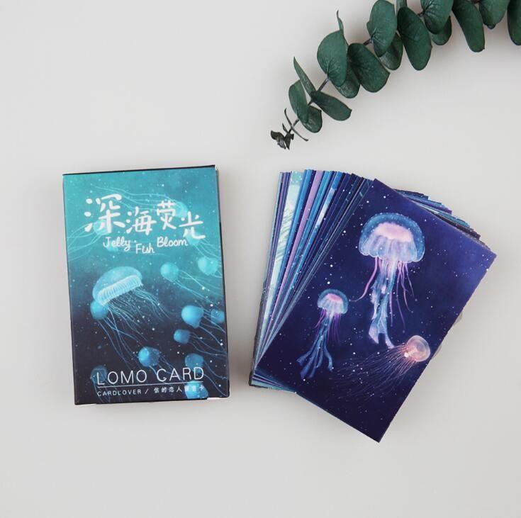 28 pcs/pack Deep Sea Jellyfish Bloom Mini Lomo Card Greeting Card Postcard Birthday Letter Envelope Gift Card Set Message Card