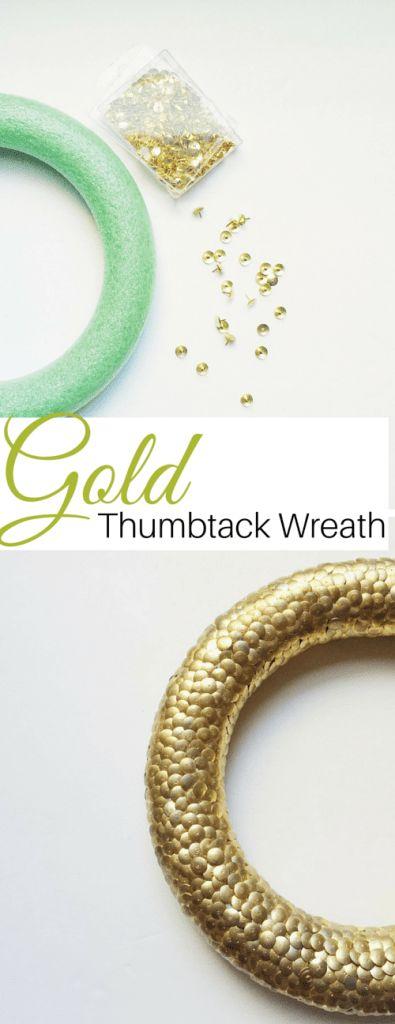 DIY Dollar Tree Gold Thumbtack Wreath