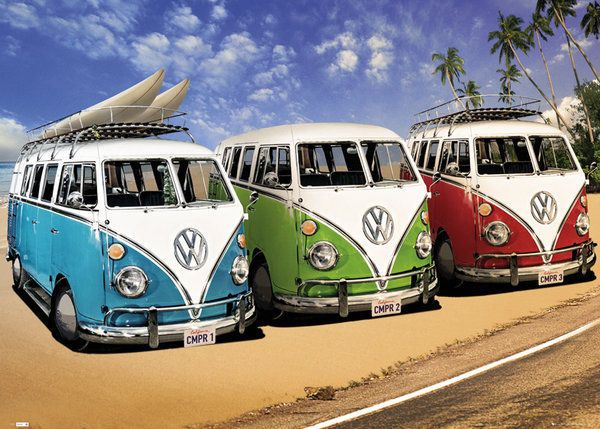 VOLKSWAGEN VW CAMPER VANS SURF BEACH GIANT WALL POSTER in Art, Posters, Contemporary (1980-Now) | eBay!
