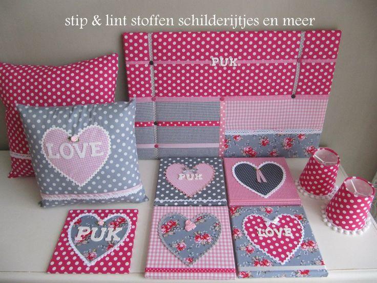 Complete setjes   stip & lint stoffen schilderijtjes en meer kinderkamer accessoires