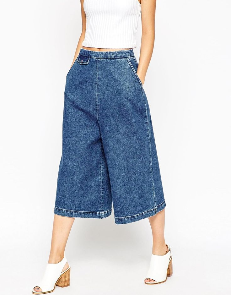 Image 4 ofASOS Denim Culottes with Tab Pocket Detail in Mid Blue Wash