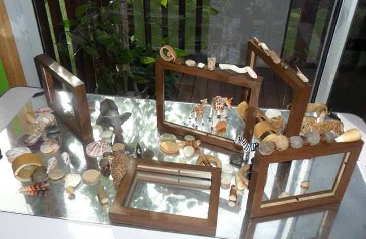 Loving how this small world is set up on a reflective surface with balanced frames. It gives a new perspective - from New Horizons Preschool
