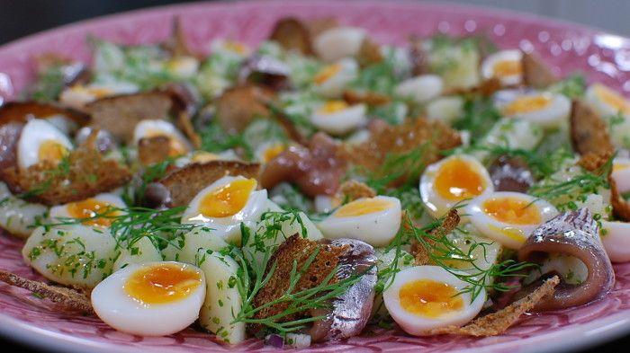 Potatis, ansjovis och vaktelägg