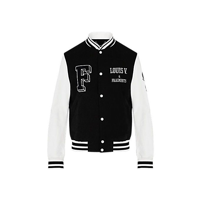 Created in collaboration with Hiroshi Fujiwara's Fragment Design, this two-tone varsity jacket features the name of an imaginary group - Louis V and Fragments – embroidered on the chest: a reference to this season's emblematic design partnership.
