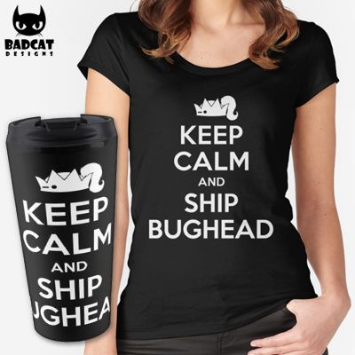 'Riverdale – Keep Calm And Ship Bughead' design inspired by Betty Cooper and Jughead Jones from the new American teen drama television series based on the characters by Archie Comics. #Riverdale #Bughead #BettyCooper #JugheadJones #TShirt #Tee #Mug