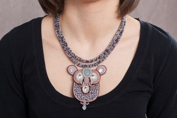 Soutache and Bead Embroidery Necklace