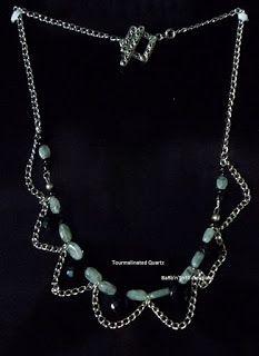 BaRb'n'ShEll Creations-Tourmalinated quartz gemstone, black briolettes & chain necklace-BaRb