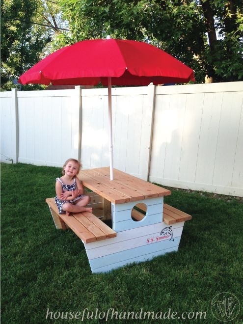 Build a nautical kids picnic table kid outdoor living for Picnic boat plans