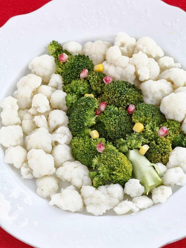 Recetas fáciles y bartas para hacer en Navidad. En la imagen: Árbol de Navidad con coliflor y brócoli.