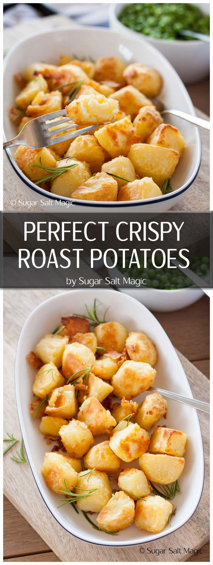 Crispy and golden on the outside, soft and fluffy in the middle - this is how to make Perfect Roast Potatoes #ovenroasted #potatoes via @sugarsaltmagic