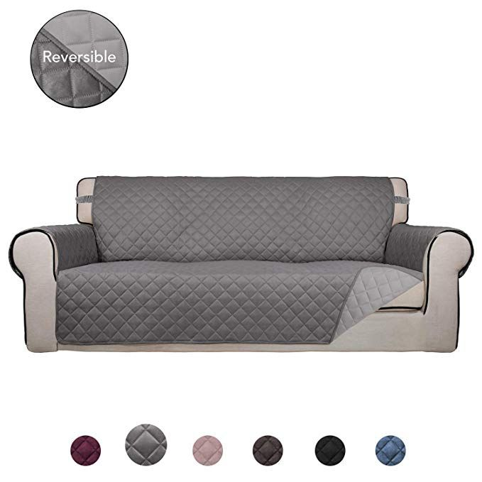Purefit Reversible Quilted Sofa Cover Water Resistant Slipcover