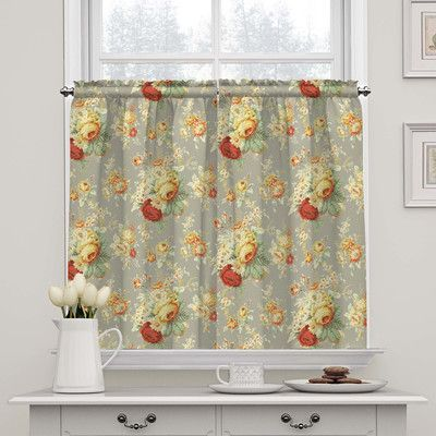 Waverly Sanctuary Rose Tier Curtain Color: Clay