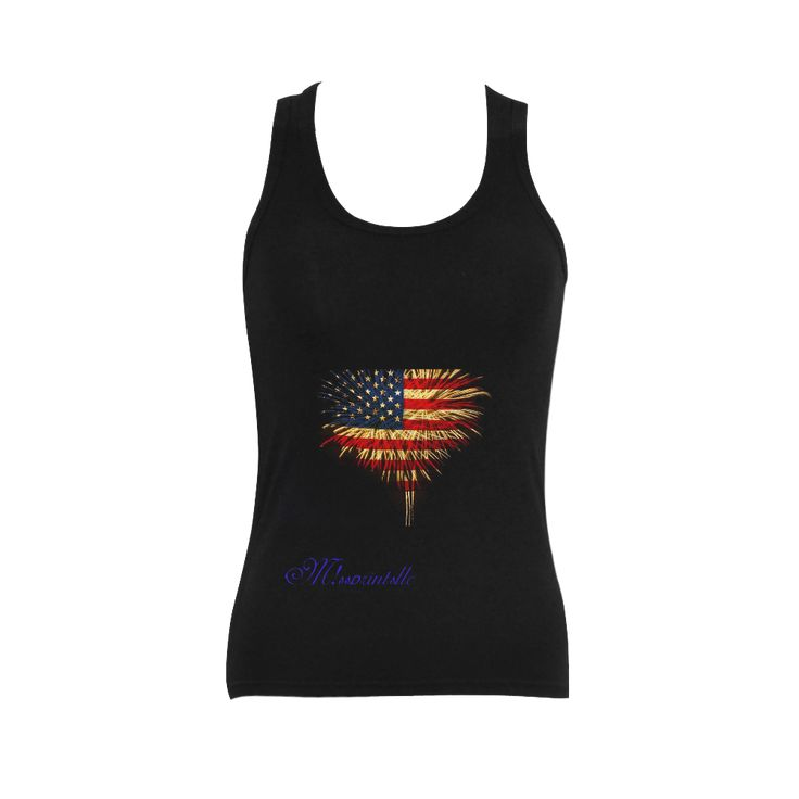 USA_flag_firework Women's Shoulder-Free Tank Top