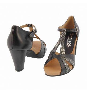 Sandalias peep toe piel lisa con tejus - Paula Alonso - Tienda online