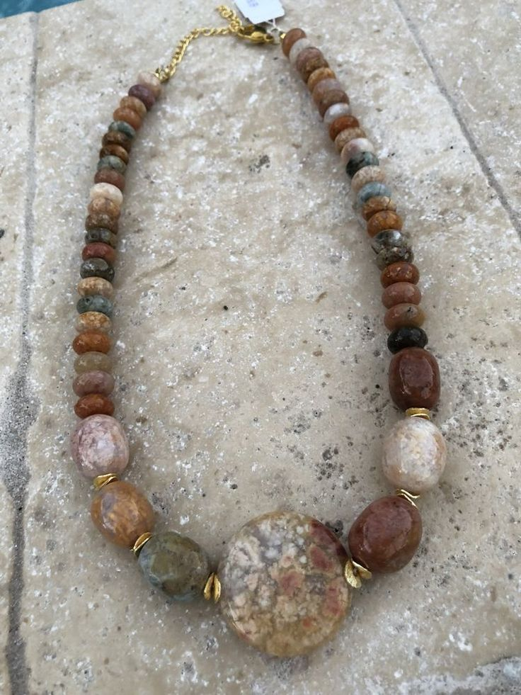 """Woman Necklace Mixed Tone Stone Sterling Silver 925 Stone Necklace 9""""    eBay"""