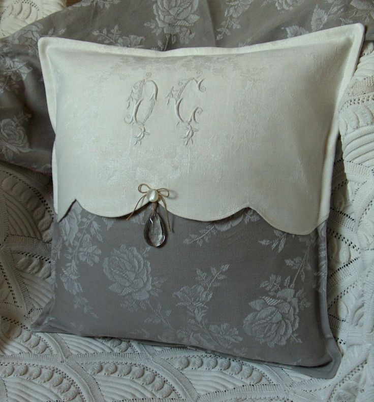 Pillow - monogram, linen, cream & grey