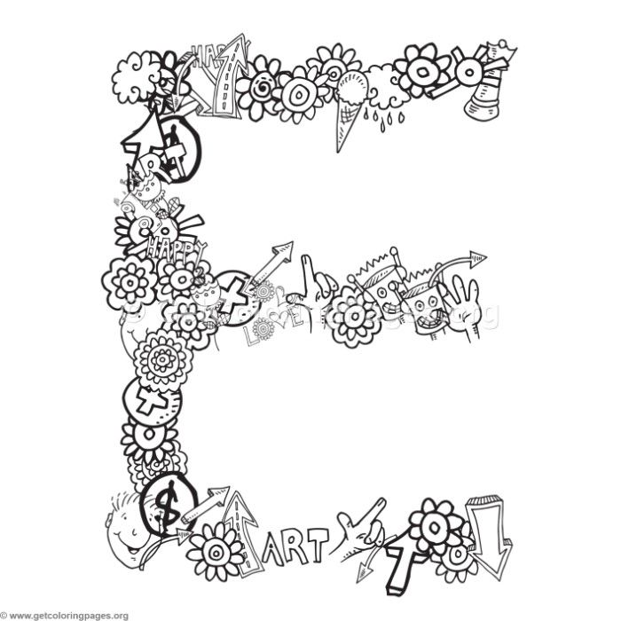 Free Instant Download Doodle Alphabet Letter E Coloring Pages