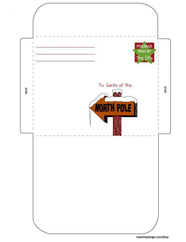 santa letter & envelope~printable