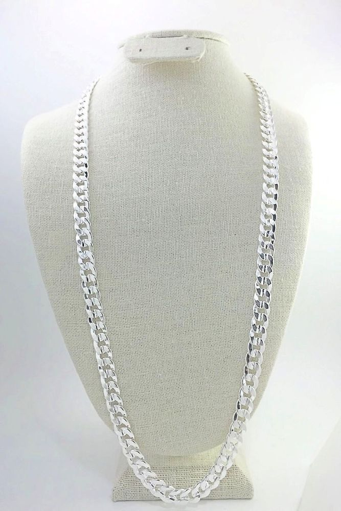 Mens 10mm Cuban Curb Chain 30 Textured Smooth Links 925 Sterling Silver Unbranded Silver Jewellery Indian Gold And Silver Bracelets Wholesale Silver Jewelry