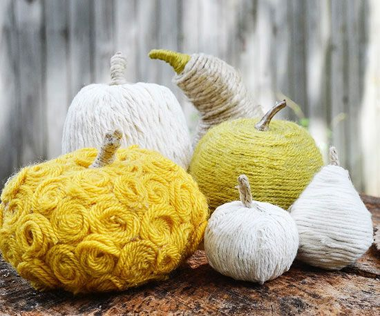 Yarn-Wrapped Gourds and Pumpkins