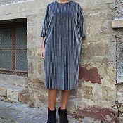 Одежда ручной работы. Ярмарка Мастеров - ручная работа Серое зимнее макси миди платье из искусственного меха. Handmade.
