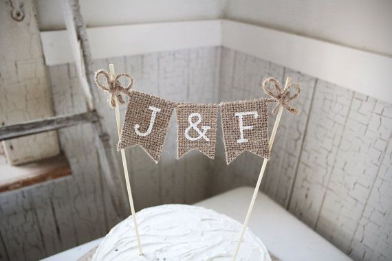 Wedding Cake Topper Burlap Wedding Cake Topper Rustic
