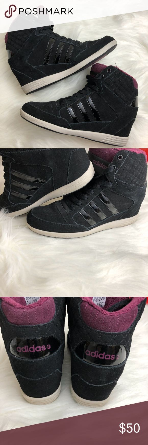 Adidas Neo Label Black Purple Wedge High Top Great used condition, look at photos for wear. Size 8 Neo Label Black with Maroon interior. adidas Shoes Sneakers