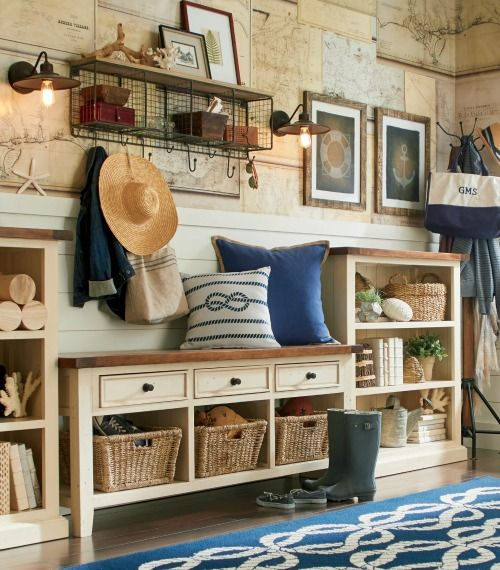 Nautical Entryway Ideas.... http://www.completely-coastal.com/2016/10/simple-entryway-storage-ideas-with-benches.html