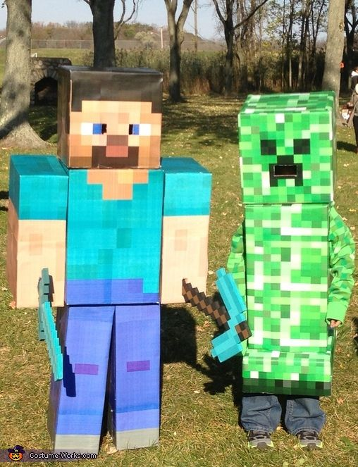 Minecraft Steve and Creeper - Homemade costumes for kids