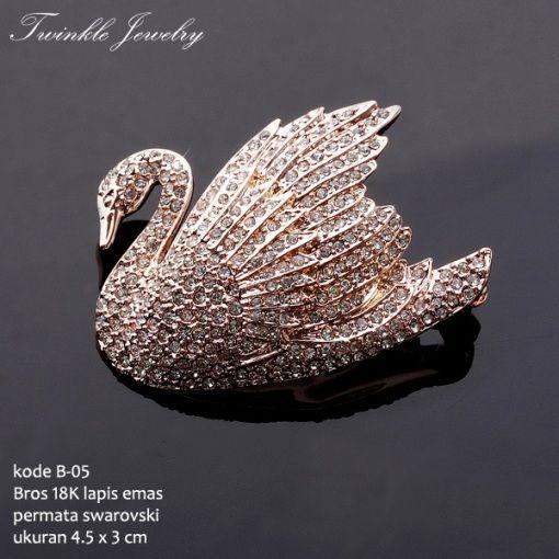 #Bros #Swarovski Swan #Gold Lapis Emas 18K Harga Rp.885.000,- Packing Dengan Box Khusus, Free Shipping Jabodetabek. #jewelry #perhiasan