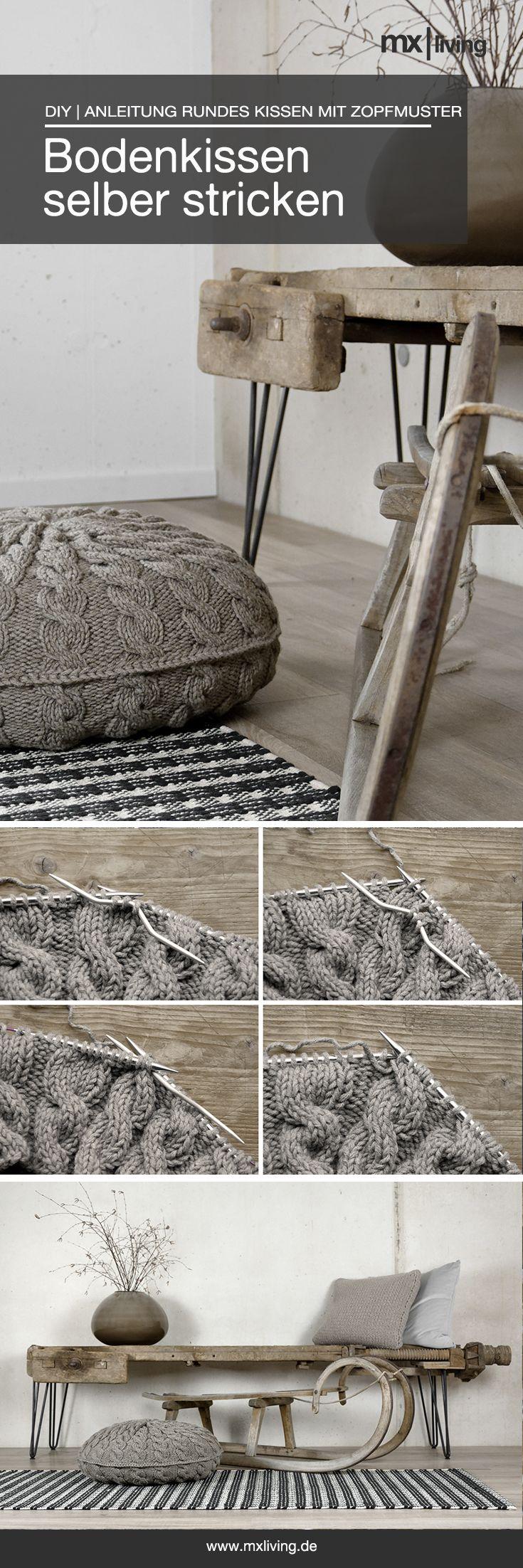 Bodenkissen mit Zopfmuster selber stricken, hier geht es zur Anleitung!