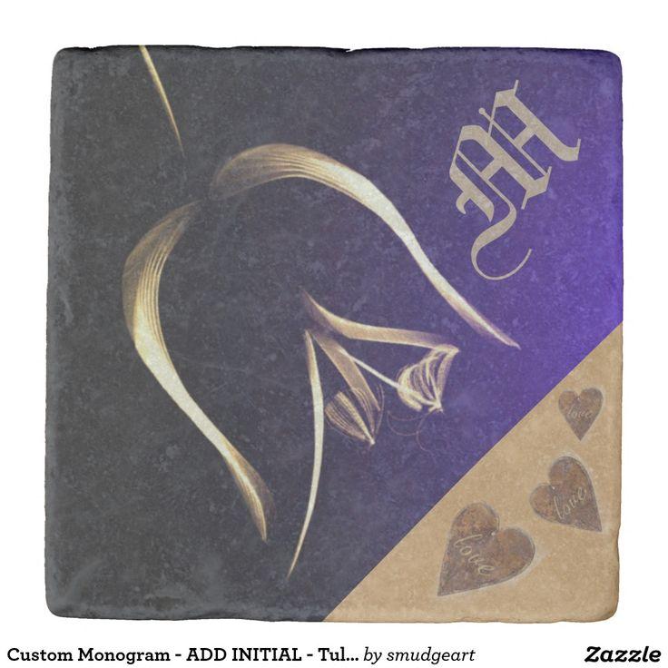 Custom Monogram - ADD INITIAL - Tulip / Hearts Stone Coaster