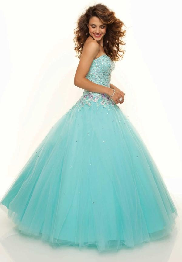 Strapless light blue prom dress with jewels