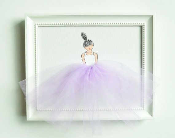 Original acrylic painting, hand-painted on stretched canvas.  Unique artwork, composed of acrylic paint and tulle, ideal for a little girls room,