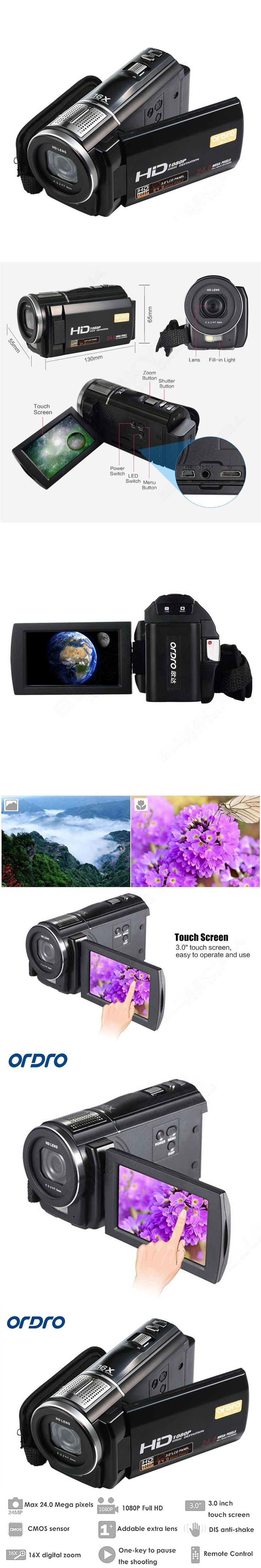 "ORDRO HDV-F5 Video Camera Full HD Camcorder 1080P 3.0"" Rotatable LCD Touch Screen Camcorders 16X Zoom Digital Camcorder DVR"