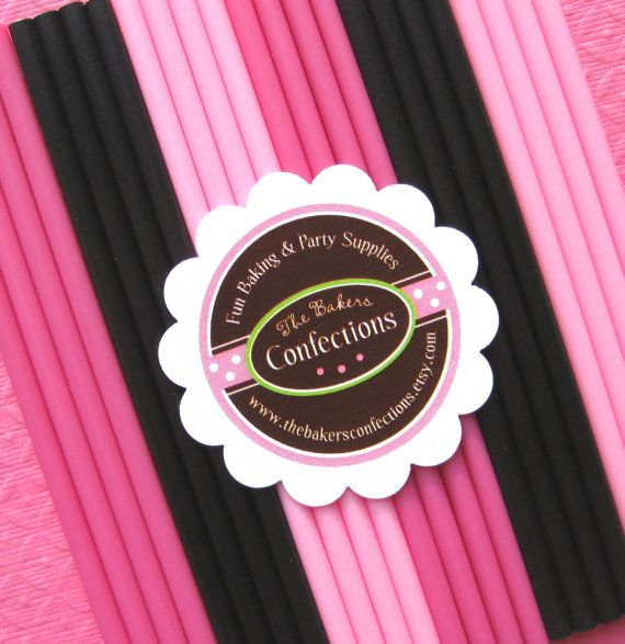 Pink and Black Diva Cake Pop and Lollipop Sticks by thebakersconfections, $3.75