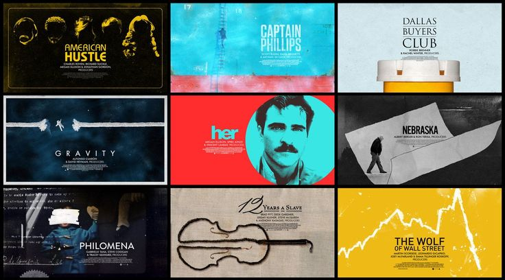 Oscars Best Picture Nomination Title cards - 2014 (poster look). Designed by Henry Hobson (bootmaker films) and Manija Emran (mill) Animated...