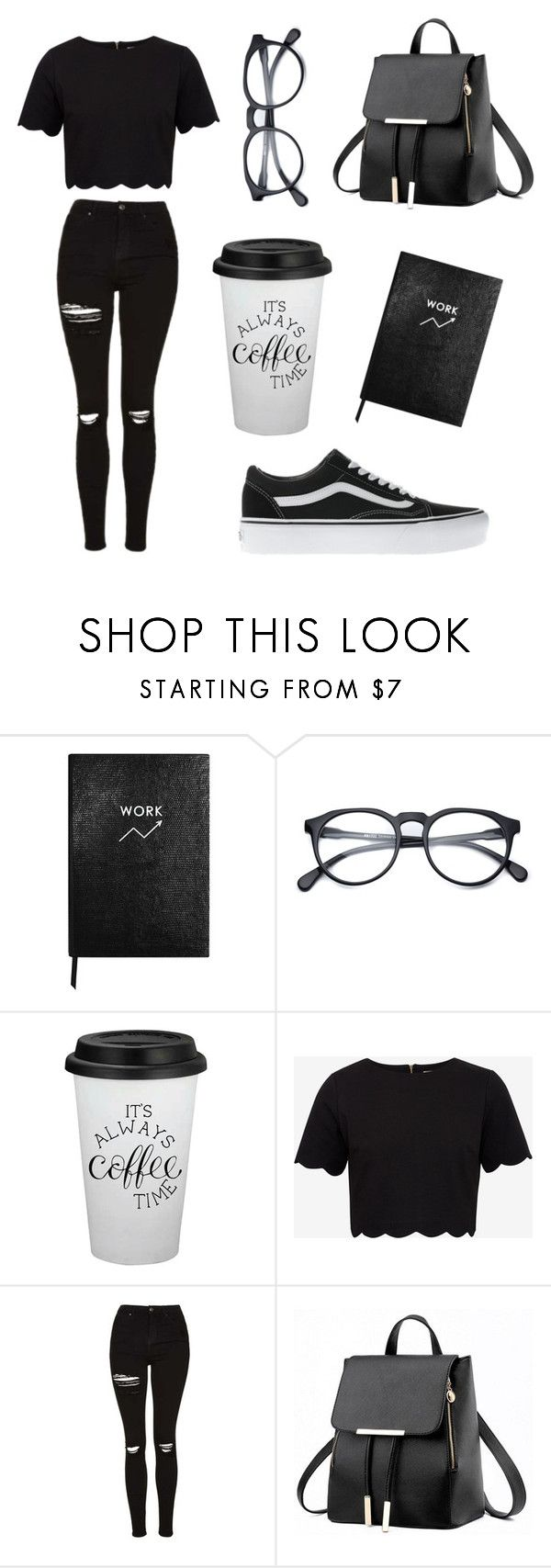 """""""Back to School contest entry"""" by darkerizzy ❤ liked on Polyvore featuring Sloane Stationery, Ted Baker, Topshop and Vans"""