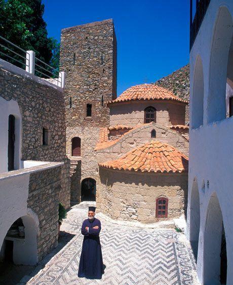 Greece Travel Inspiration - Monastery on Tilos island. Photograph: Alamy